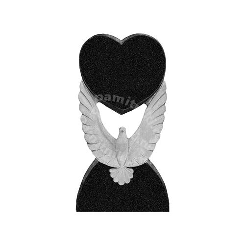 Памятник из гранита резной «Голубь с сердцем»