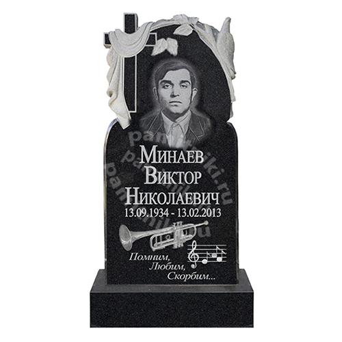 Памятник из гранита резной «Крест с полотном»