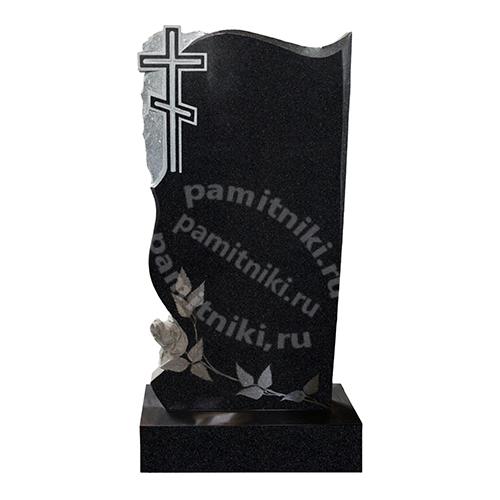 Памятник из гранита резной «Крест с розой»